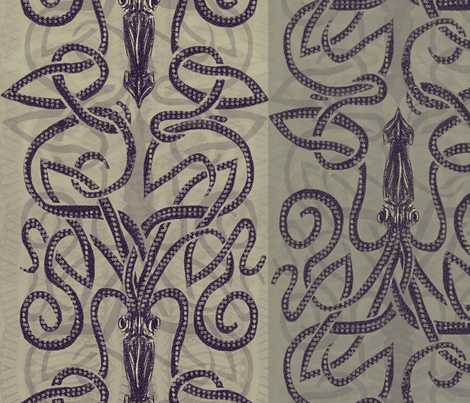 Taupe and khaki kraken  fabric by wren_leyland on Spoonflower - custom fabric