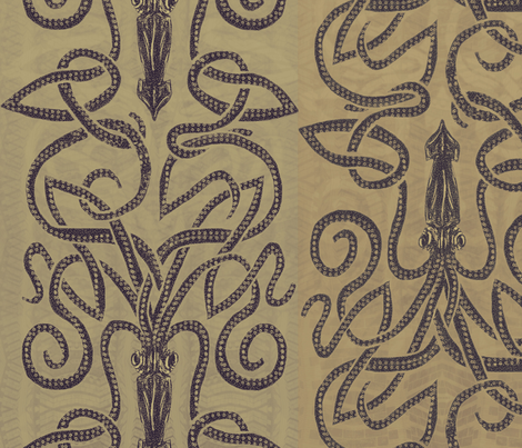Sandy brown squid swirls fabric by wren_leyland on Spoonflower - custom fabric