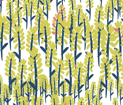 Fields - White/Gold fabric by owlandchickadee on Spoonflower - custom fabric