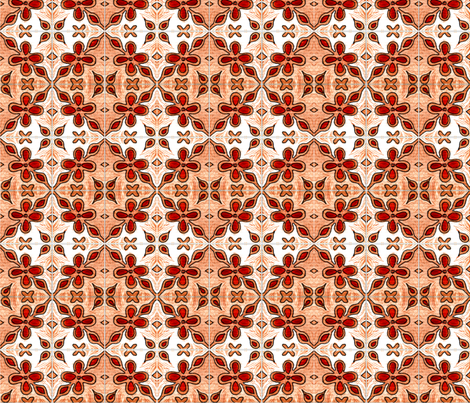 Tile Flowers Diamonds Orange fabric by martaharvey on Spoonflower - custom fabric
