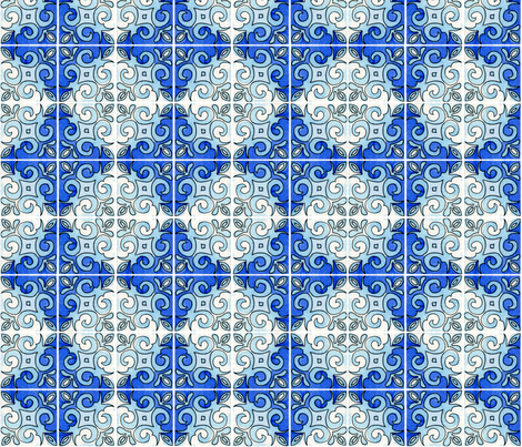 Tile Swirl Blue fabric by martaharvey on Spoonflower - custom fabric