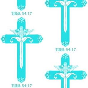 Isaiah 54:17 white sword and cross