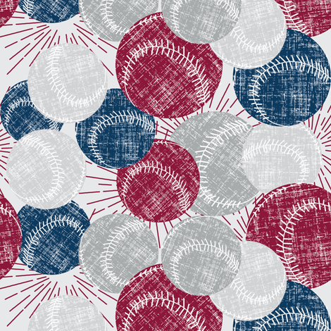 Baseballs - Deep, Red Navy fabric by owlandchickadee on Spoonflower - custom fabric