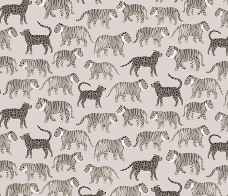 Gray Tigers fabric by siankeegan on Spoonflower - custom fabric