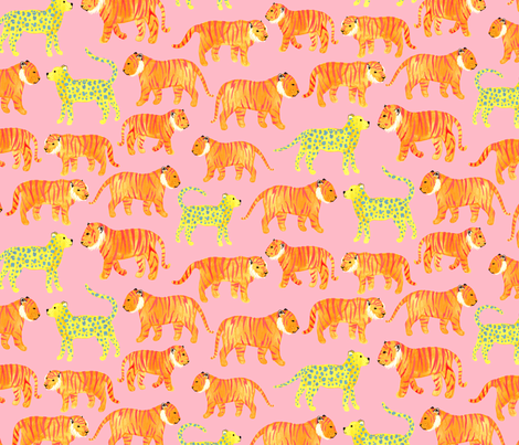 Pink Tigers fabric by siankeegan on Spoonflower - custom fabric