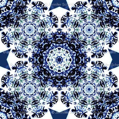 Kaleidoscope Snowflake Blue
