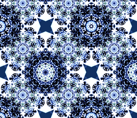 Kaleidoscope Snowflake Blue fabric by jennysquawk on Spoonflower - custom fabric