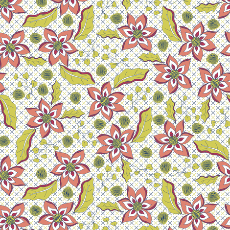 A Fauvist's Spring Garden - on Blue and Green Lattice fabric by rhondadesigns on Spoonflower - custom fabric