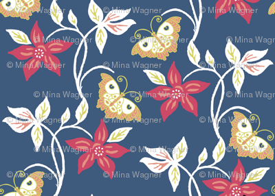Flowering vine & butterflies - vector - matisse-colors