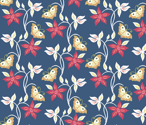 Flowering vine & butterflies - vector - matisse-colors fabric by mina on Spoonflower - custom fabric
