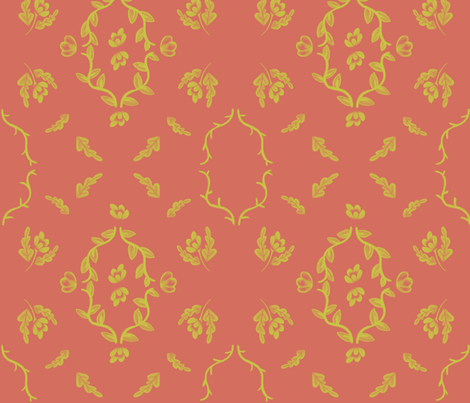 yellow_flower_damask_on_orange fabric by glindabunny on Spoonflower - custom fabric