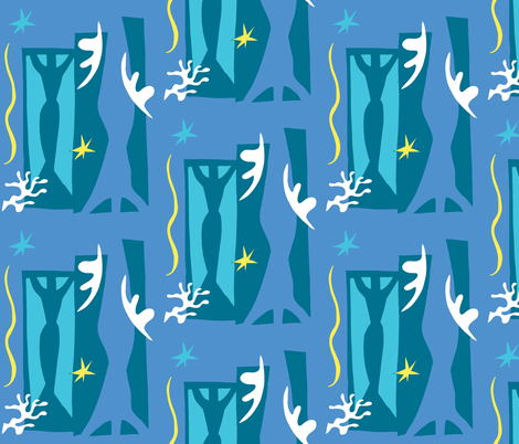 Matisse Collage - Blue fabric by painter13 on Spoonflower - custom fabric