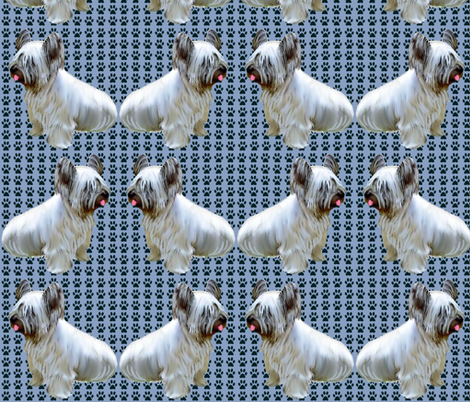 Skye Terrier Pawprints fabric by dogdaze_ on Spoonflower - custom fabric