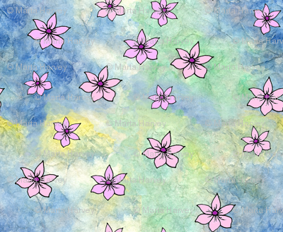 Pink Flowers on Watercolor Painted Rice Paper