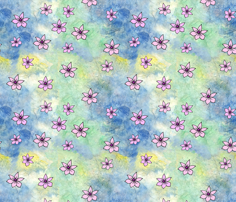 Pink Flowers on Watercolor Painted Rice Paper fabric by martaharvey on Spoonflower - custom fabric