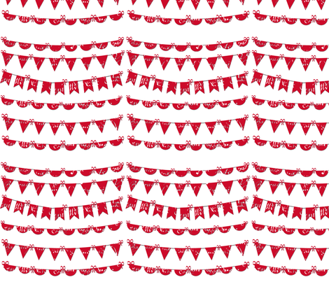Red and White Bunting fabric by karenharveycox on Spoonflower - custom fabric