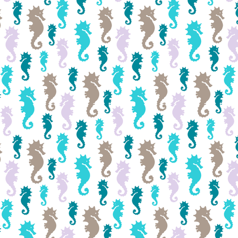 Marine seahorse fabric by paintedstudioartdesign@gmail_com on Spoonflower - custom fabric