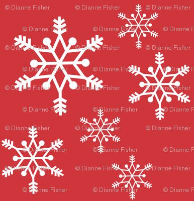 snowflakes - white on red