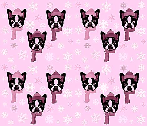 FROSTY PINK TERRIERS fabric by bluevelvet on Spoonflower - custom fabric