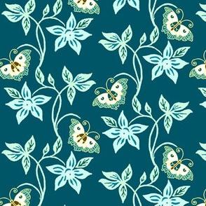Flowering vine & butterflies - vector - colorguide - bluegreens