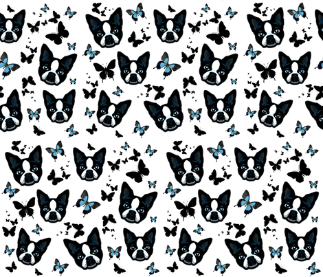 DOGS AND BUTTERFLIES fabric by bluevelvet on Spoonflower - custom fabric