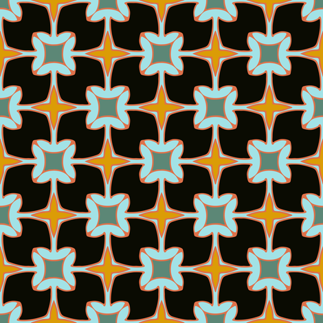 Xmas Lounge Flower Tile Black and Blue fabric by jumeaux on Spoonflower - custom fabric