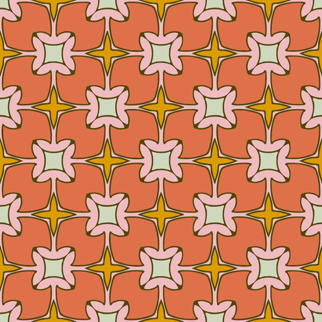 Xmas Lounge Tiles Coral and Pink fabric by jumeaux on Spoonflower - custom fabric