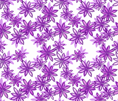Random Flower Pattern in layers - purple shades fabric by martaharvey on Spoonflower - custom fabric