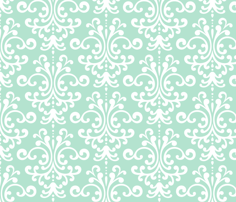 Damask Lg Mint Green Fabric By Misstiina On Spoonflower