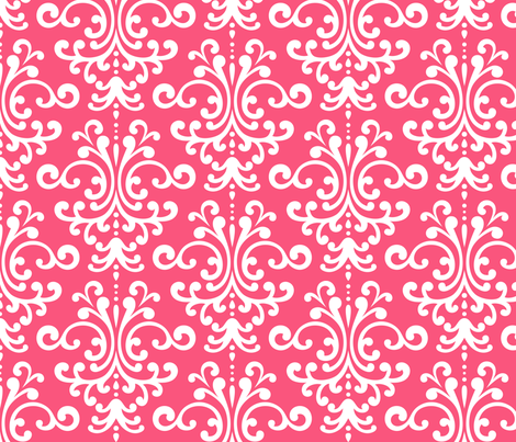 damask lg hot pink fabric by misstiina on Spoonflower - custom fabric