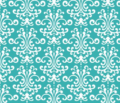 damask lg teal fabric by misstiina on Spoonflower - custom fabric