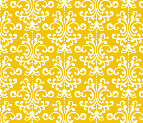 damask lg mustard yellow fabric by misstiina on Spoonflower - custom fabric