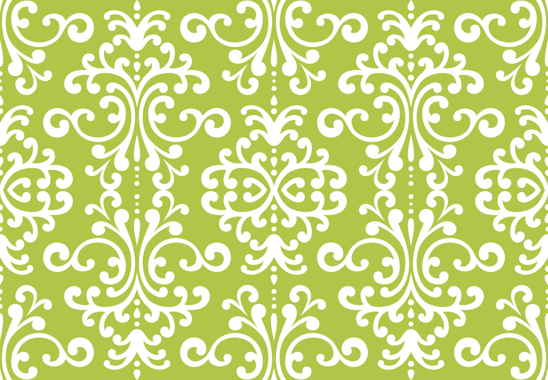 Group Of Green And White Damask Wallpaper