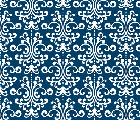 damask lg navy blue fabric by misstiina on Spoonflower - custom fabric