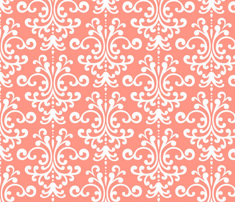damask lg peach fabric by misstiina on Spoonflower - custom fabric