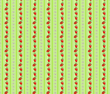 Strawberry Stripes Green fabric by ninniku on Spoonflower - custom fabric