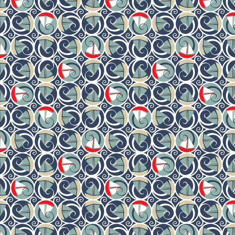 Sailing in Circles Stormy Sea  fabric by mag-o on Spoonflower - custom fabric
