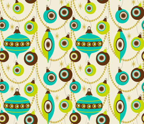 Christmas Swag ~ holiday turquoise, lime and bark fabric by retrorudolphs on Spoonflower - custom fabric