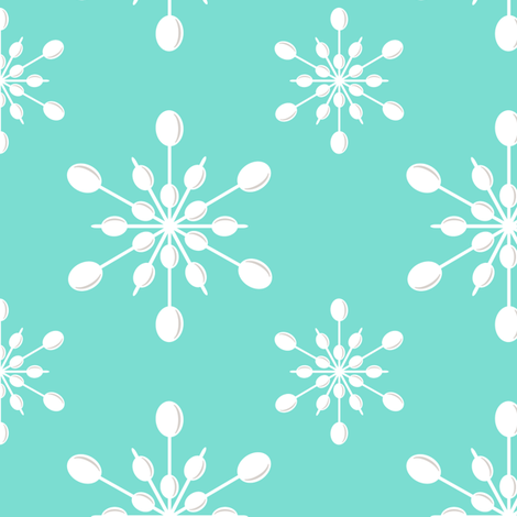 Vintage Plastic Snowflakes ~ on holiday blue fabric by retrorudolphs on Spoonflower - custom fabric