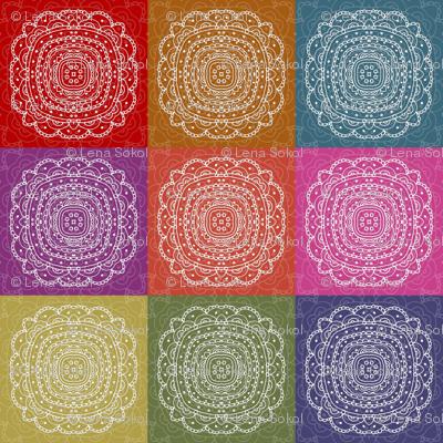 set of colorful hand drawn napkins