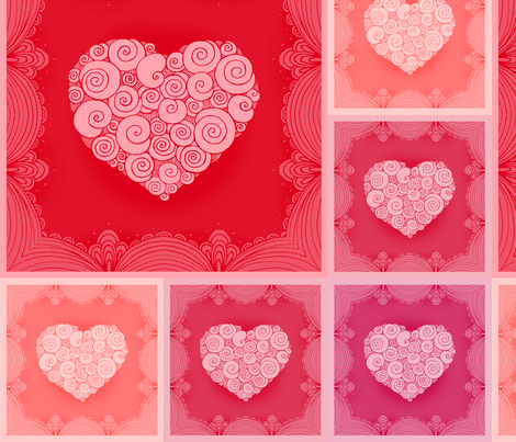 Romantic napkins with lace border and hearts fabric by lena_sokol on Spoonflower - custom fabric