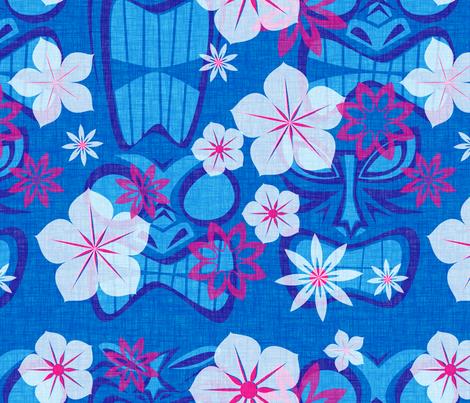 Vintage Tiki - lagoon fabric by thecalvarium on Spoonflower - custom fabric