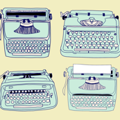 Typewriters Blue Yellow