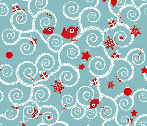 Enchanted christmas fabric by m2mcreation on Spoonflower - custom fabric