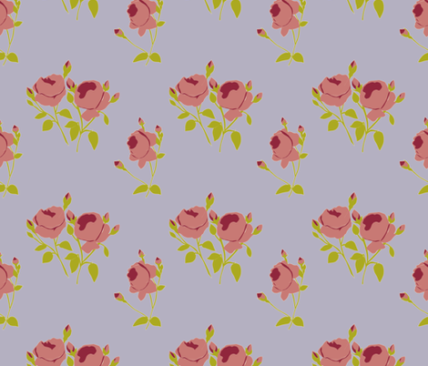 French Rose Paper Cut Out in Burgundy fabric by horn&ivory on Spoonflower - custom fabric
