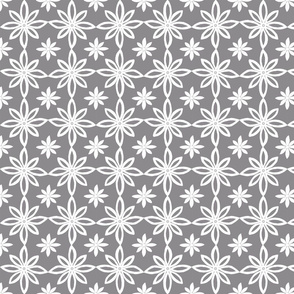Pattern With 2 Flowers in Grey and White