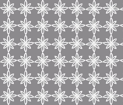 Simple Flower Pattern in Grey and White fabric - martaharvey ...