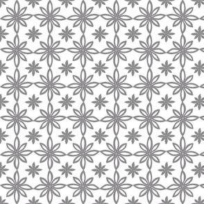 Pattern With 2 Flowers in White and Grey