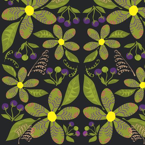 Flowers,Ferns&BerriesonBlack fabric by linda_santell on Spoonflower - custom fabric