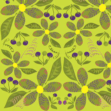 Flowers,Ferns&BerriesonPeridot fabric by linda_santell on Spoonflower - custom fabric